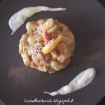 Gnocchi con crema di pesca e provolone del Monaco