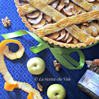 Crostata di noci, arance e mele limoncelle